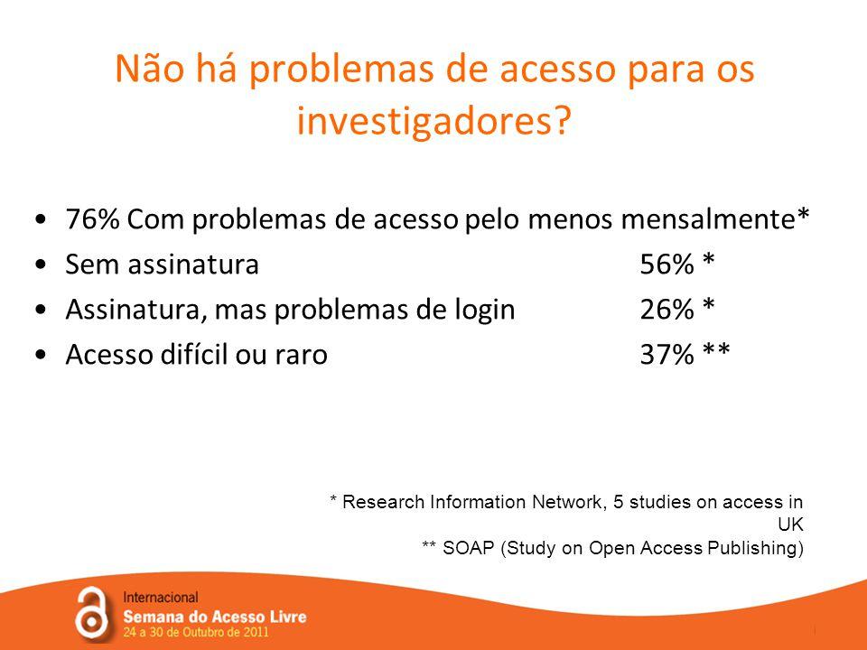 Não há problemas de acesso para os investigadores.