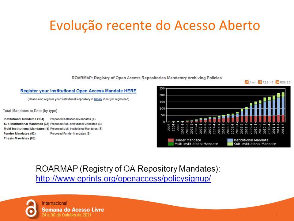 Evolução recente do Acesso Aberto ROARMAP (Registry of OA Repository Mandates): http://www.eprints.org/openaccess/policysignup/