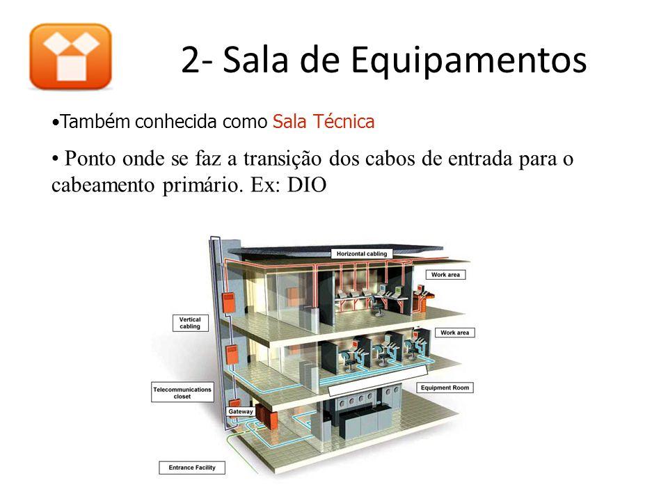 2- Sala de Equipamentos •Também conhecida como Sala Técnica • Ponto onde se faz a transição dos cabos de entrada para o cabeamento primário.