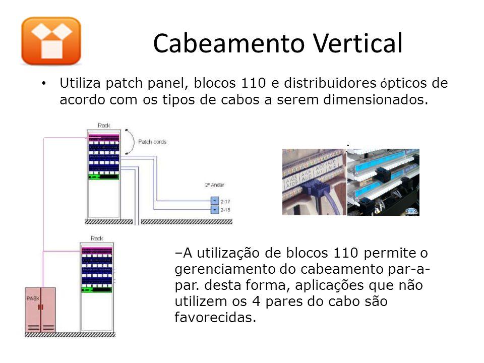 Cabeamento Vertical • Utiliza patch panel, blocos 110 e distribuidores ó pticos de acordo com os tipos de cabos a serem dimensionados.