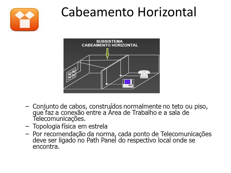 Cabeamento Horizontal –Conjunto de cabos, construídos normalmente no teto ou piso, que faz a conexão entre a Área de Trabalho e a sala de Telecomunicações.