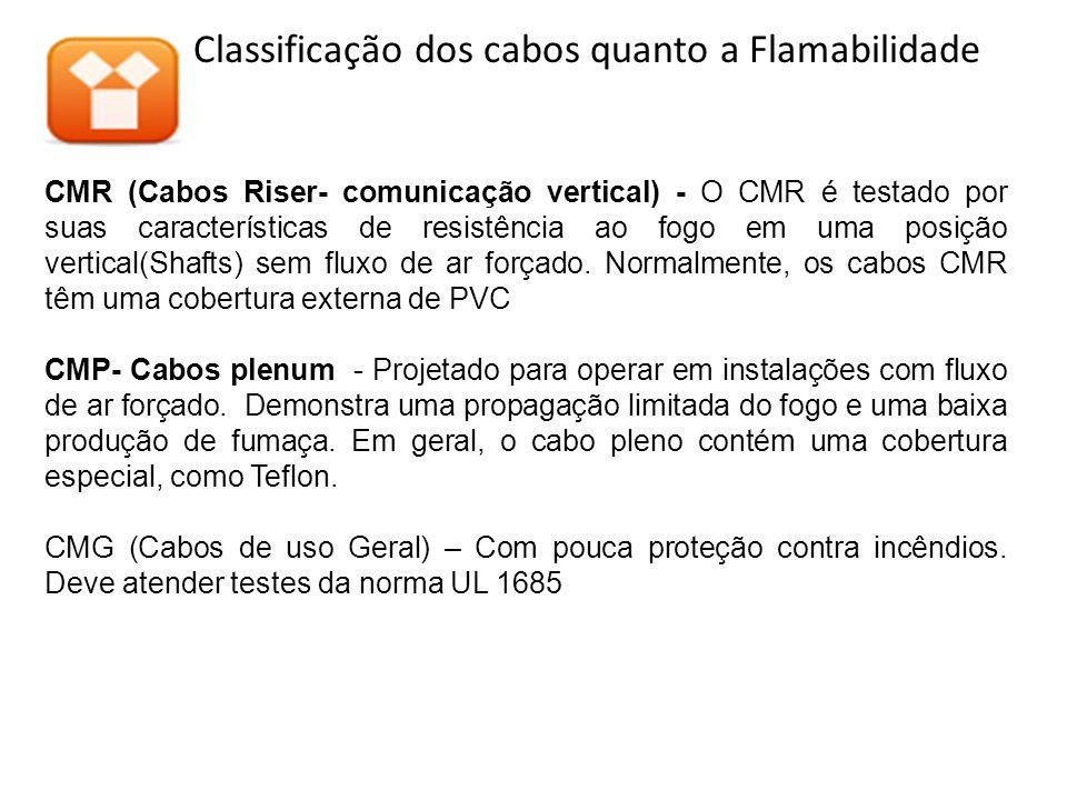 Classificação dos cabos quanto a Flamabilidade CMR (Cabos Riser- comunicação vertical) - O CMR é testado por suas características de resistência ao fogo em uma posição vertical(Shafts) sem fluxo de ar forçado.