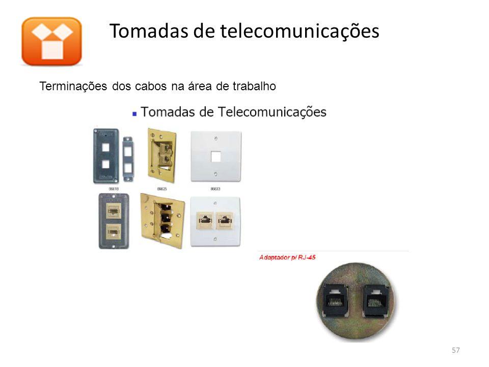 Tomadas de telecomunicações Terminações dos cabos na área de trabalho 57