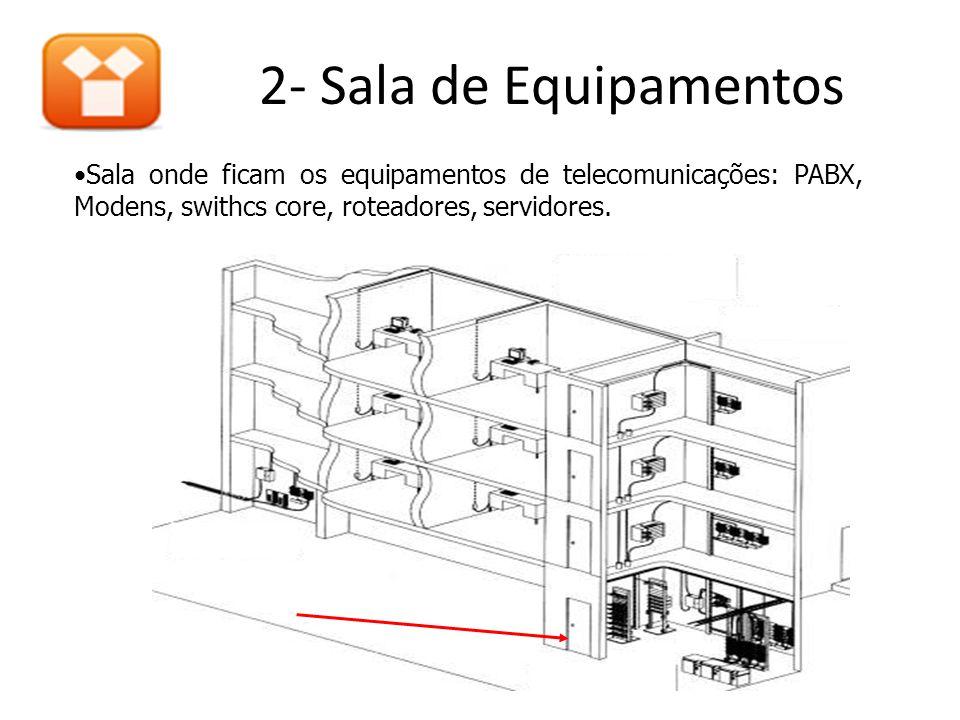 2- Sala de Equipamentos •Sala onde ficam os equipamentos de telecomunicações: PABX, Modens, swithcs core, roteadores, servidores.