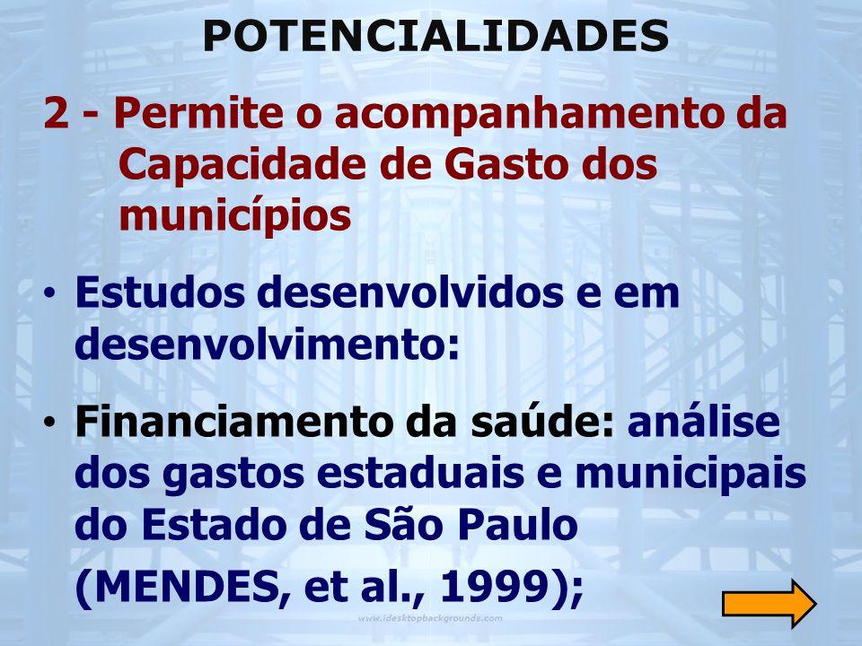 2 - Permite o acompanhamento da Capacidade de Gasto dos municípios • Estudos desenvolvidos e em desenvolvimento: • Financiamento da saúde: análise dos gastos estaduais e municipais do Estado de São Paulo (MENDES, et al., 1999); POTENCIALIDADES