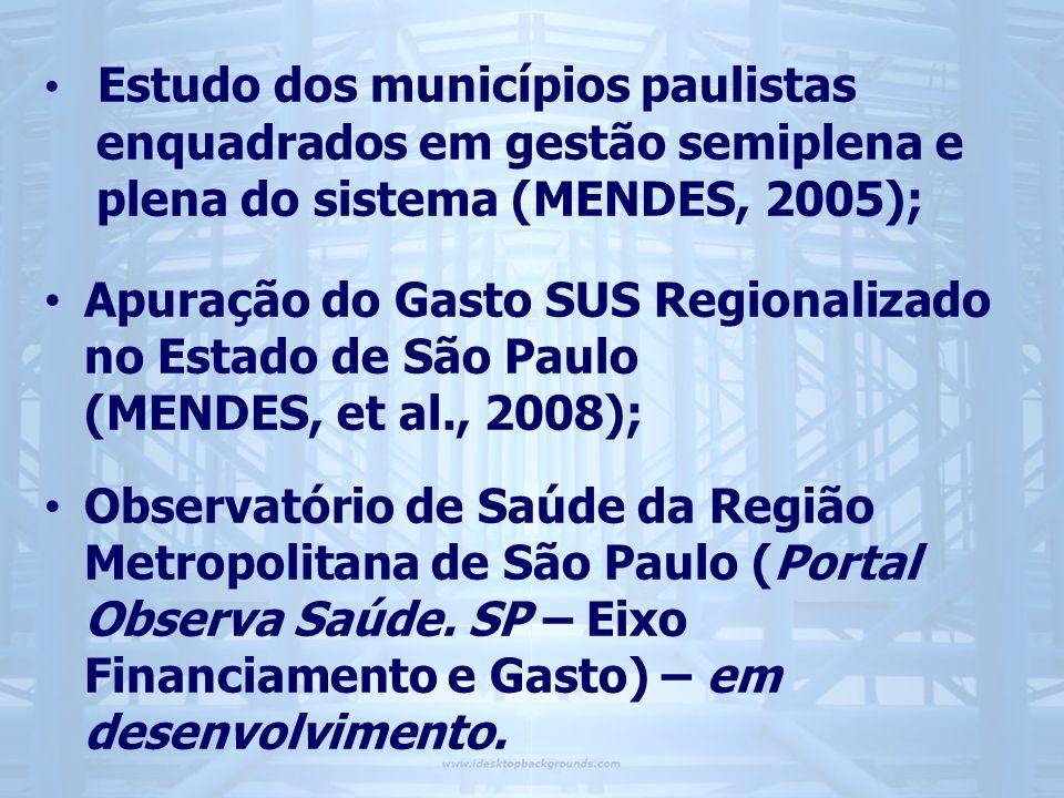 • Estudo dos municípios paulistas enquadrados em gestão semiplena e plena do sistema (MENDES, 2005); • Apuração do Gasto SUS Regionalizado no Estado de São Paulo (MENDES, et al., 2008); • Observatório de Saúde da Região Metropolitana de São Paulo (Portal Observa Saúde.