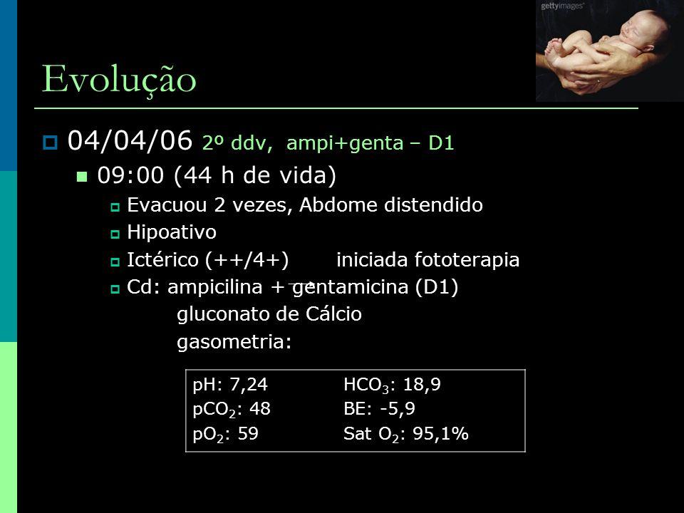 Evolução  04/04/06 2º ddv, ampi+genta – D1  09:00 (44 h de vida)  Evacuou 2 vezes, Abdome distendido  Hipoativo  Ictérico (++/4+) iniciada fotote