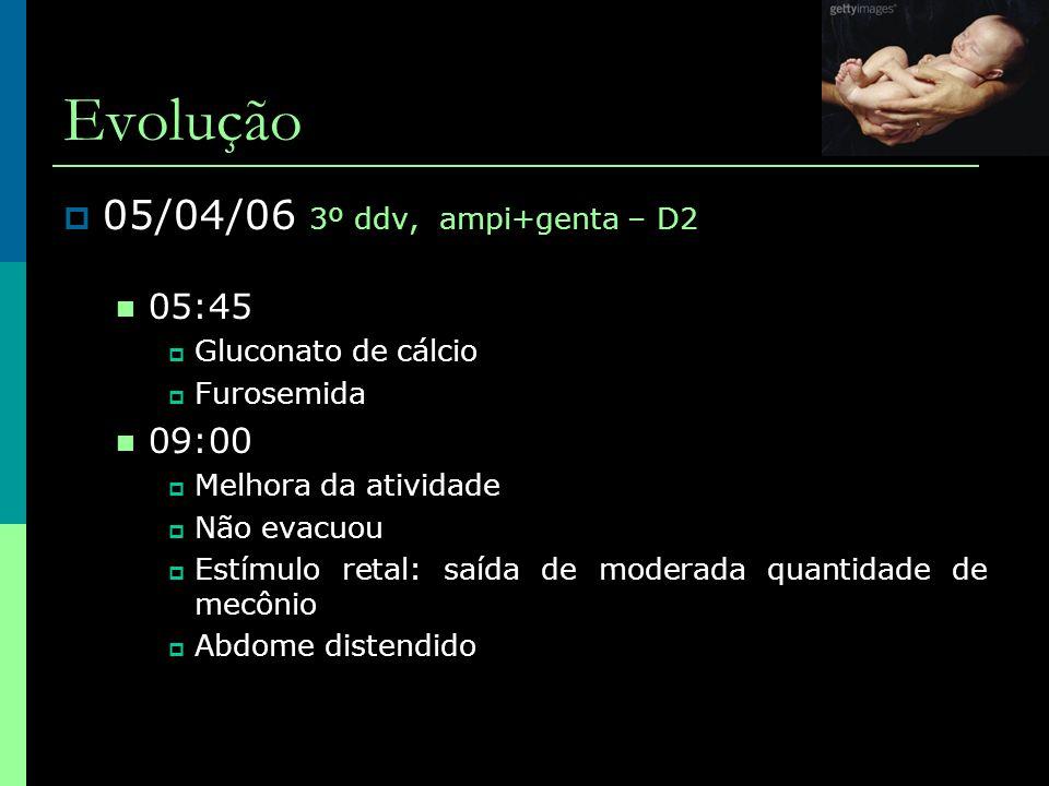 Evolução  05/04/06 3º ddv, ampi+genta – D2  05:45  Gluconato de cálcio  Furosemida  09:00  Melhora da atividade  Não evacuou  Estímulo retal: