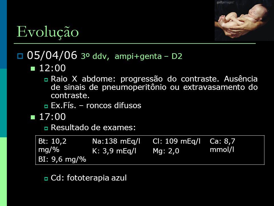 Evolução  05/04/06 3º ddv, ampi+genta – D2  12:00  Raio X abdome: progressão do contraste. Ausência de sinais de pneumoperitônio ou extravasamento
