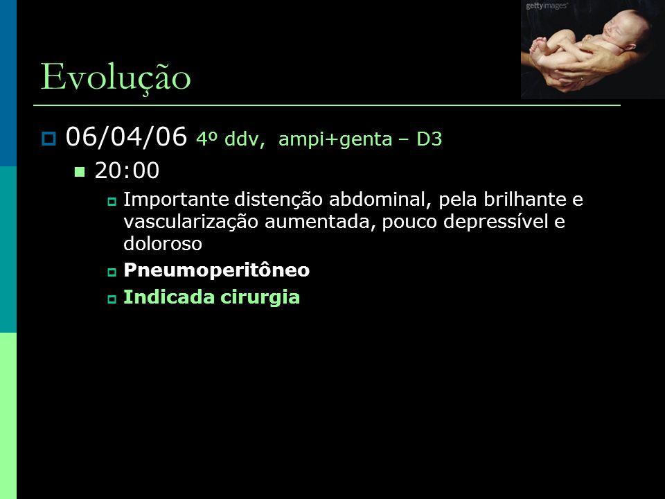 Evolução  06/04/06 4º ddv, ampi+genta – D3  20:00  Importante distenção abdominal, pela brilhante e vascularização aumentada, pouco depressível e d