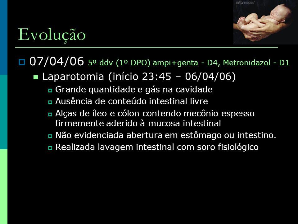 Evolução  07/04/06 5º ddv (1º DPO) ampi+genta - D4, Metronidazol - D1  Laparotomia (início 23:45 – 06/04/06)  Grande quantidade e gás na cavidade 