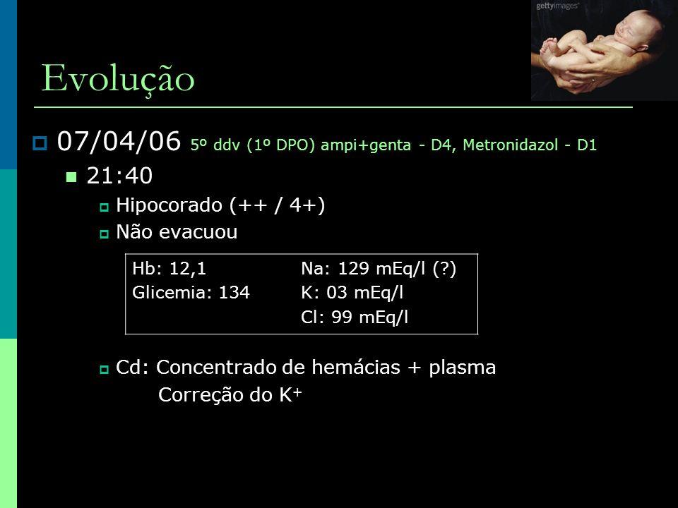 Evolução  07/04/06 5º ddv (1º DPO) ampi+genta - D4, Metronidazol - D1  21:40  Hipocorado (++ / 4+)  Não evacuou  Cd: Concentrado de hemácias + pl