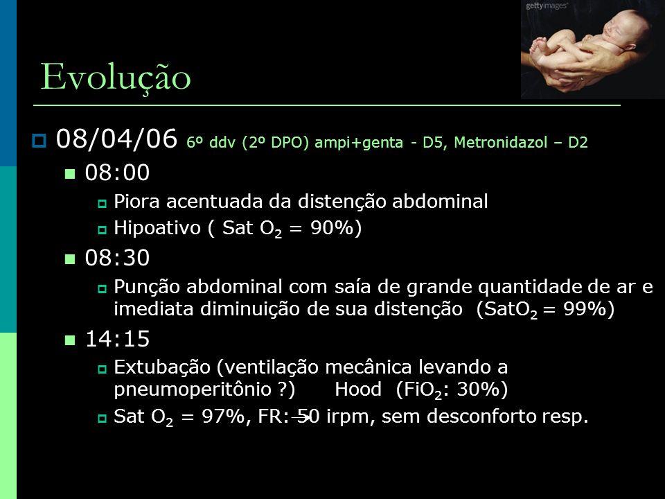 Evolução  08/04/06 6º ddv (2º DPO) ampi+genta - D5, Metronidazol – D2  08:00  Piora acentuada da distenção abdominal  Hipoativo ( Sat O 2 = 90%) 