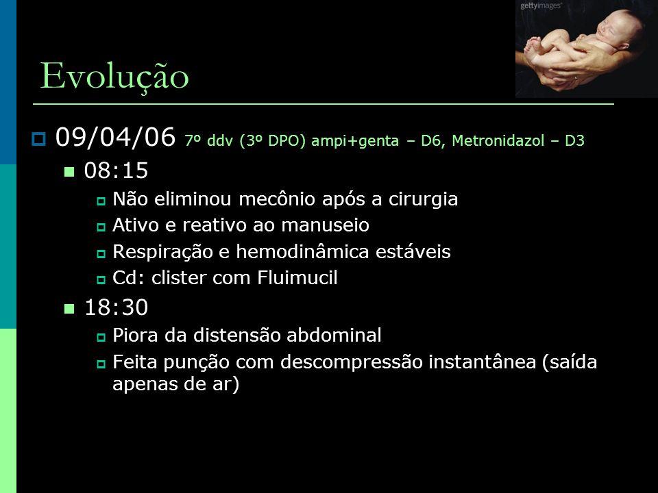 Evolução  09/04/06 7º ddv (3º DPO) ampi+genta – D6, Metronidazol – D3  08:15  Não eliminou mecônio após a cirurgia  Ativo e reativo ao manuseio 