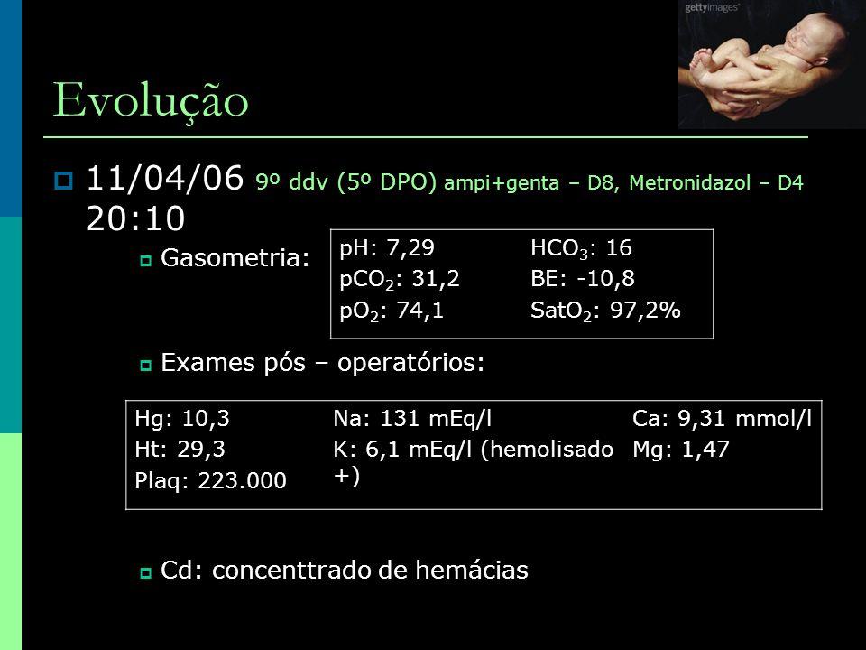 Evolução  11/04/06 9º ddv (5º DPO) ampi+genta – D8, Metronidazol – D4 20:10  Gasometria:  Exames pós – operatórios:  Cd: concenttrado de hemácias