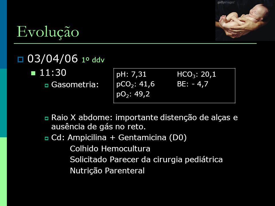 Evolução  06/04/06 4º ddv, ampi+genta – D3  20:00  Importante distenção abdominal, pela brilhante e vascularização aumentada, pouco depressível e doloroso  Pneumoperitôneo  Indicada cirurgia