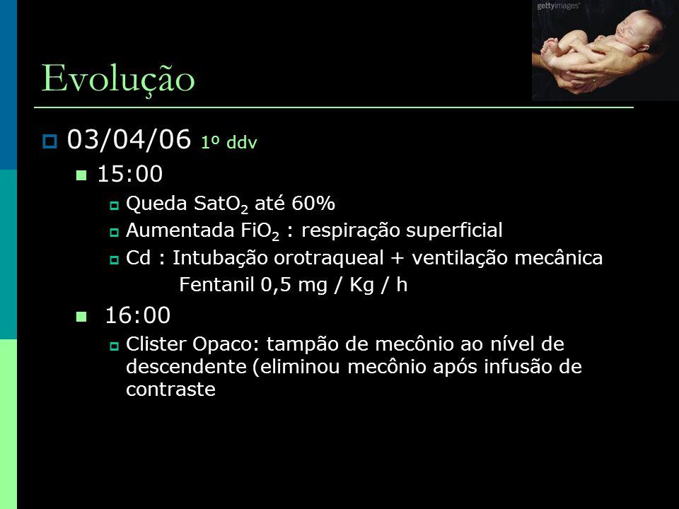 Evolução  07/04/06 5º ddv (1º DPO) ampi+genta - D4, Metronidazol - D1  09:30  Abdome: globoso mas depressível cicatriz cirúrgica sob curativo  Pesquisa de fibrose cística (teste do pezinho ampliado)  Gasometria:  Raio X de abdome: pequena quantidade e contraste em intestino grosso.