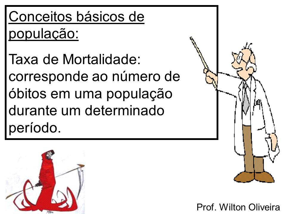 Conceitos básicos de população: Taxa de Mortalidade: corresponde ao número de óbitos em uma população durante um determinado período.