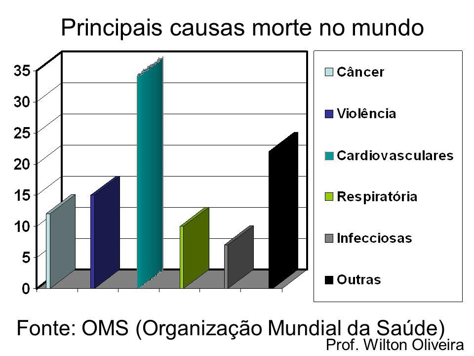 Principais causas morte no mundo Fonte: OMS (Organização Mundial da Saúde)