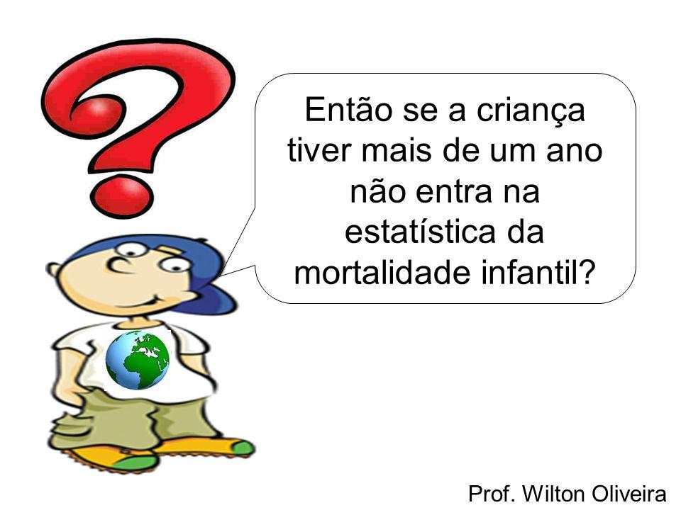 Prof. Wilton Oliveira Então se a criança tiver mais de um ano não entra na estatística da mortalidade infantil?