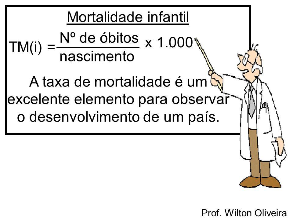 Mortalidade infantil Nº de óbitos nascimento x1.000 A taxa de mortalidade é um excelente elemento para observar o desenvolvimento de um país. TM(i) =