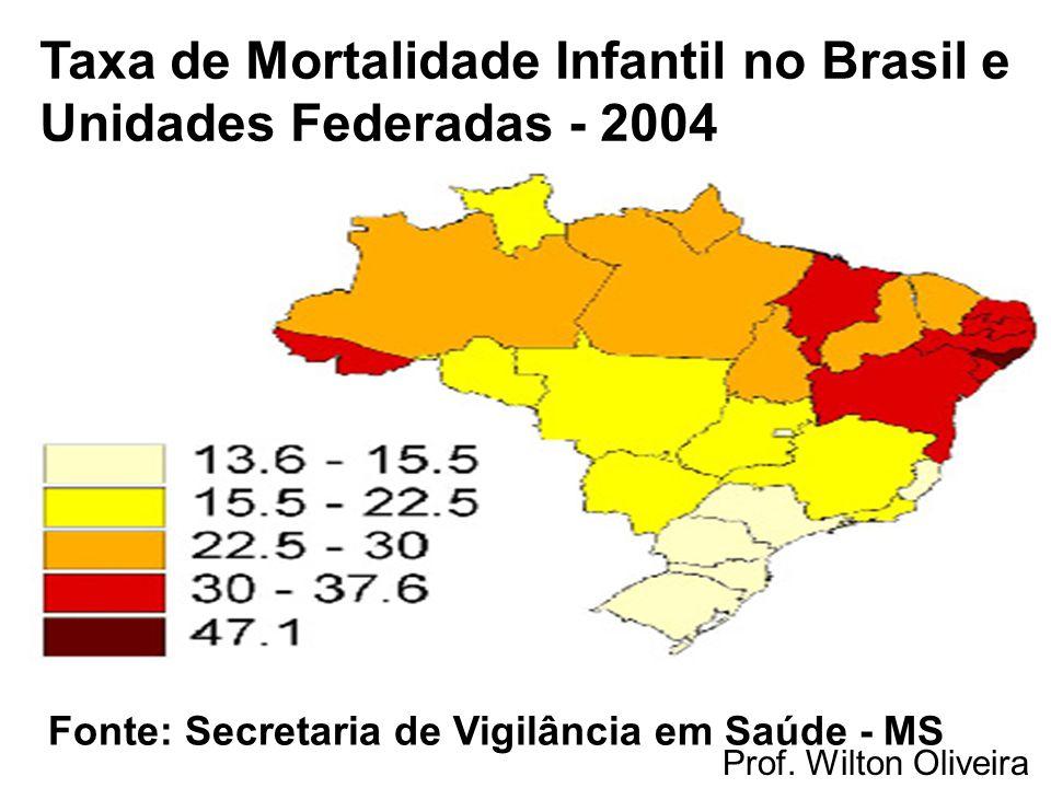 Prof. Wilton Oliveira Taxa de Mortalidade Infantil no Brasil e Unidades Federadas - 2004 Fonte: Secretaria de Vigilância em Saúde - MS