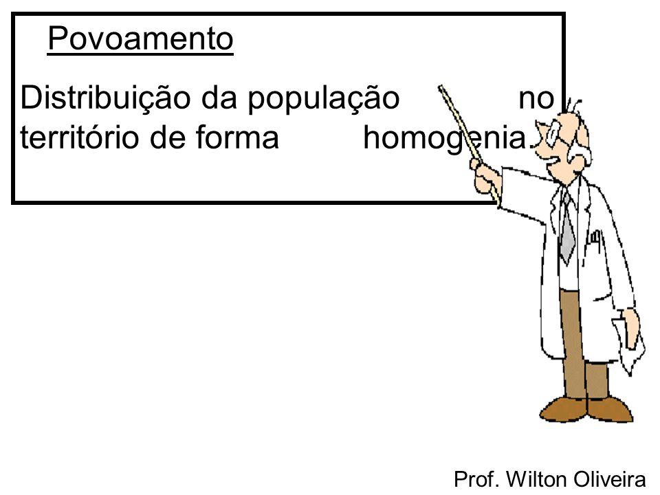 Prof. Wilton Oliveira Povoamento Distribuição da população no território de forma homogenia.