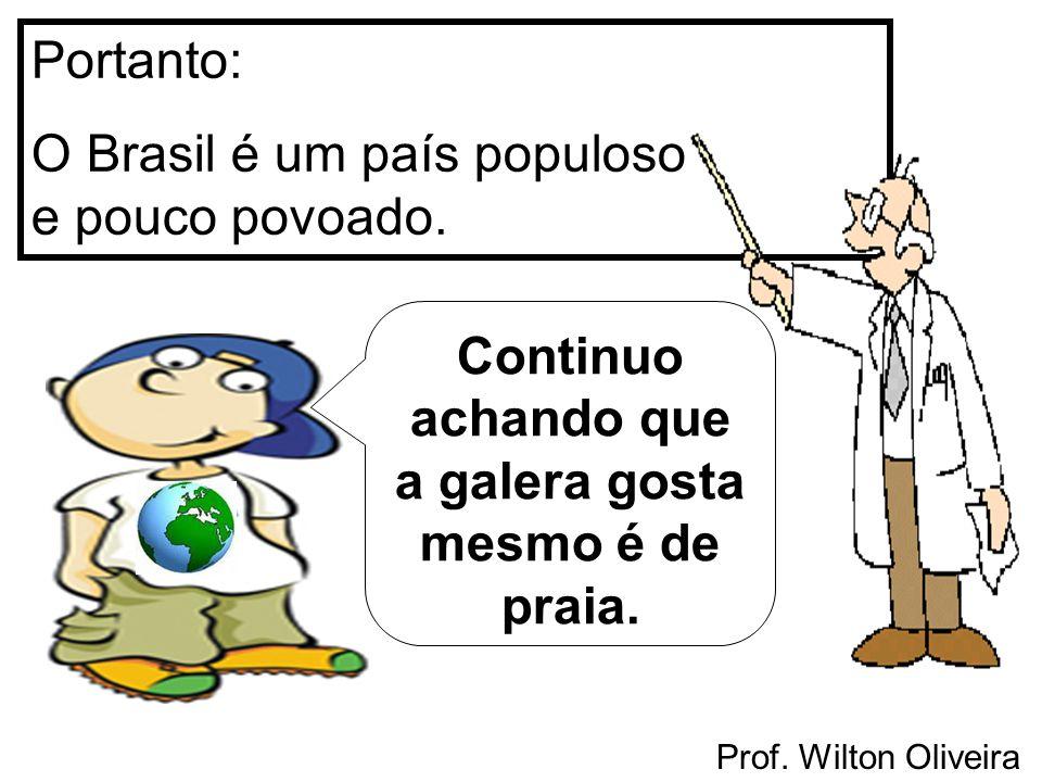 Prof. Wilton Oliveira Portanto: O Brasil é um país populoso e pouco povoado. Continuo achando que a galera gosta mesmo é de praia.