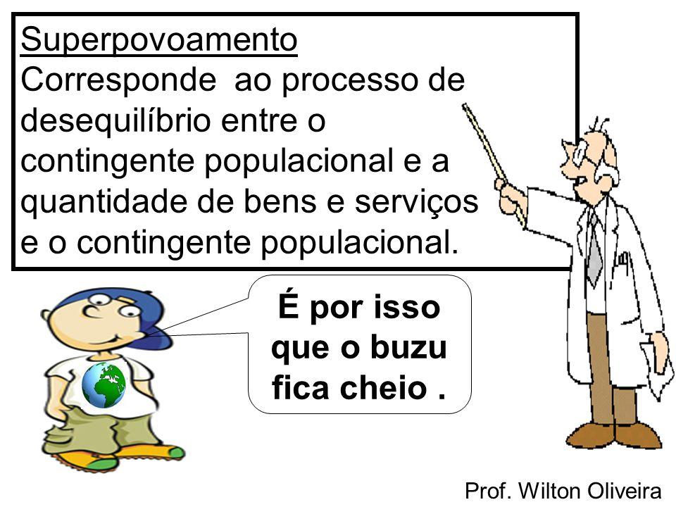 Prof. Wilton Oliveira Superpovoamento Corresponde ao processo de desequilíbrio entre o contingente populacional e a quantidade de bens e serviços e o