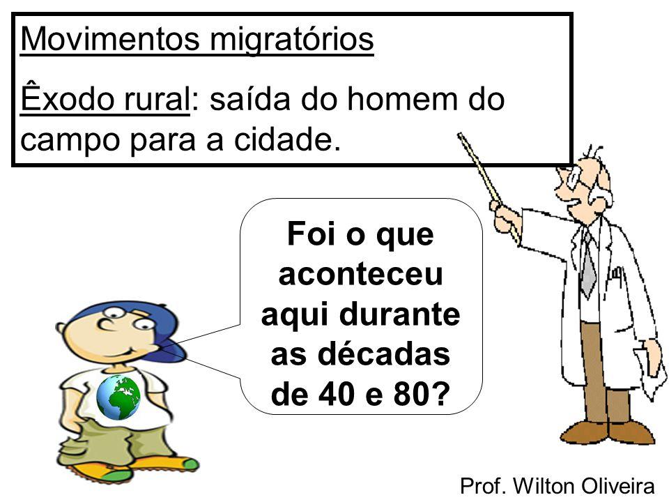 Prof. Wilton Oliveira Movimentos migratórios Êxodo rural: saída do homem do campo para a cidade. Foi o que aconteceu aqui durante as décadas de 40 e 8
