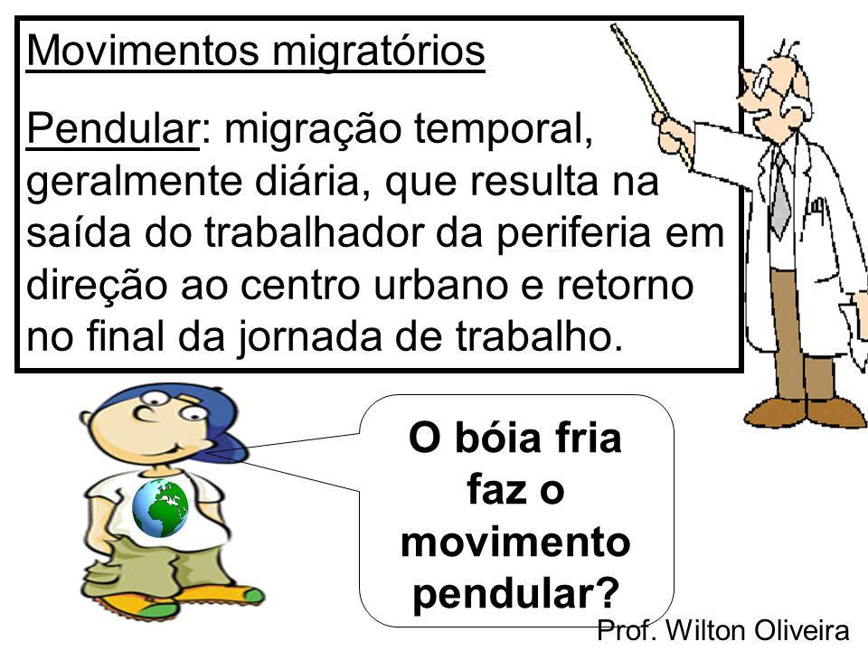 Prof. Wilton Oliveira Movimentos migratórios Pendular: migração temporal, geralmente diária, que resulta na saída do trabalhador da periferia em direç