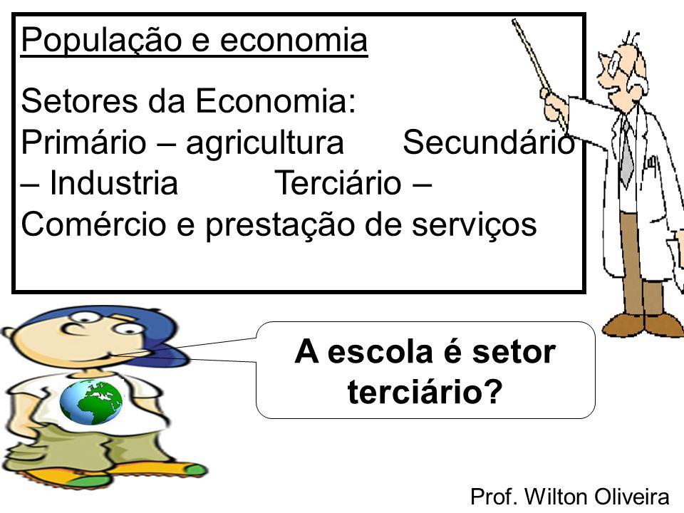 Prof. Wilton Oliveira População e economia Setores da Economia: Primário – agricultura Secundário – Industria Terciário – Comércio e prestação de serv