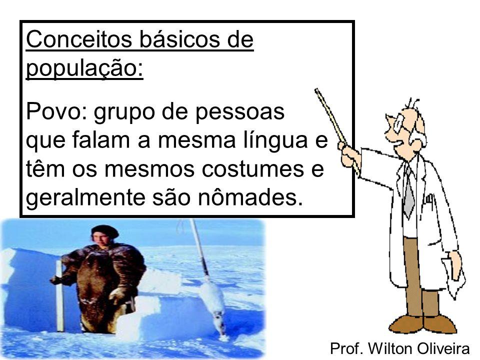 Prof. Wilton Oliveira Conceitos básicos de população: Povo: grupo de pessoas que falam a mesma língua e têm os mesmos costumes e geralmente são nômade
