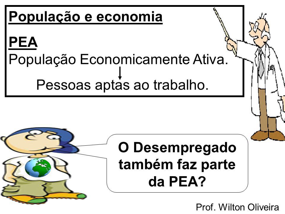 Prof. Wilton Oliveira População e economia PEA População Economicamente Ativa. Pessoas aptas ao trabalho. O Desempregado também faz parte da PEA?