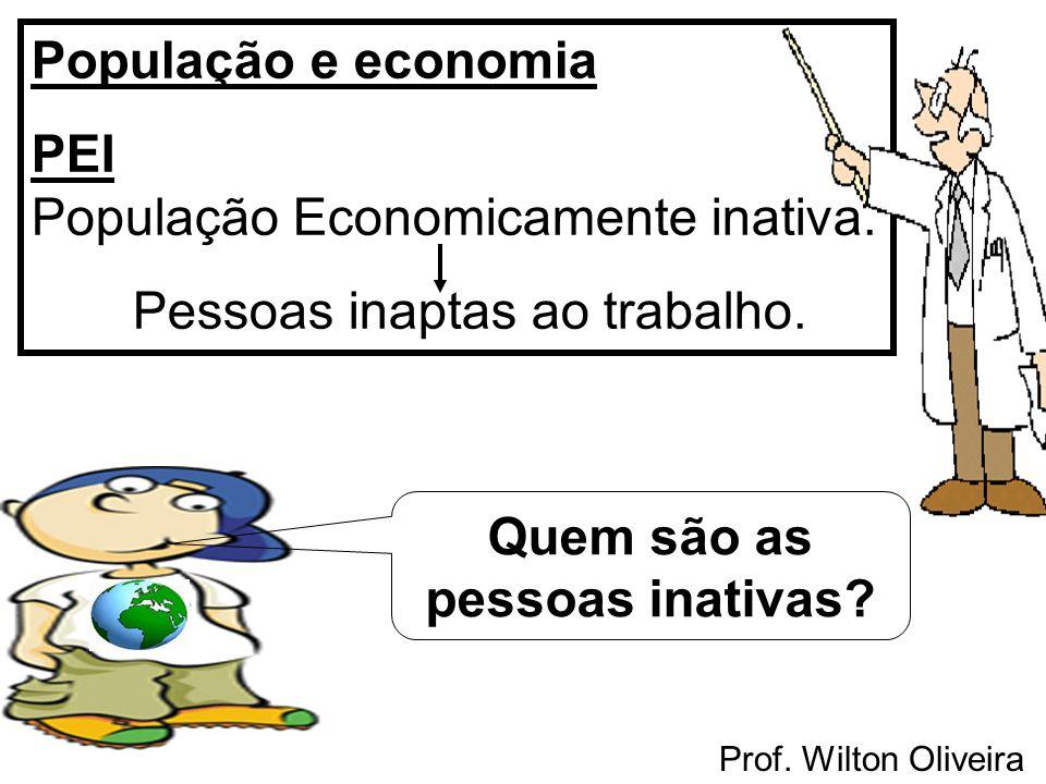 Prof. Wilton Oliveira População e economia PEI População Economicamente inativa. Pessoas inaptas ao trabalho. Quem são as pessoas inativas?