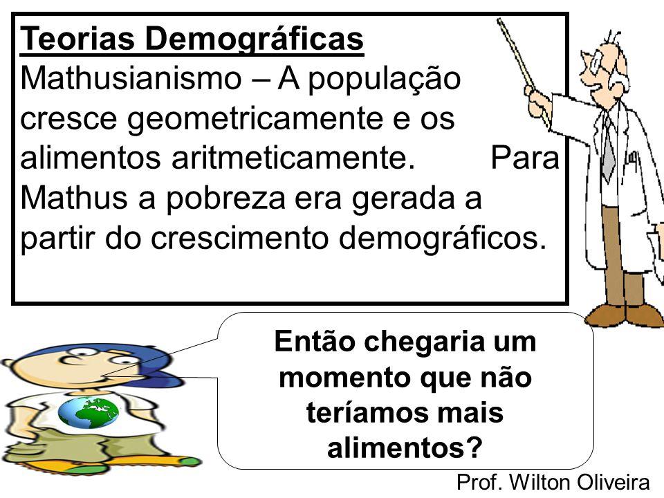 Prof. Wilton Oliveira Teorias Demográficas Mathusianismo – A população cresce geometricamente e os alimentos aritmeticamente. Para Mathus a pobreza er