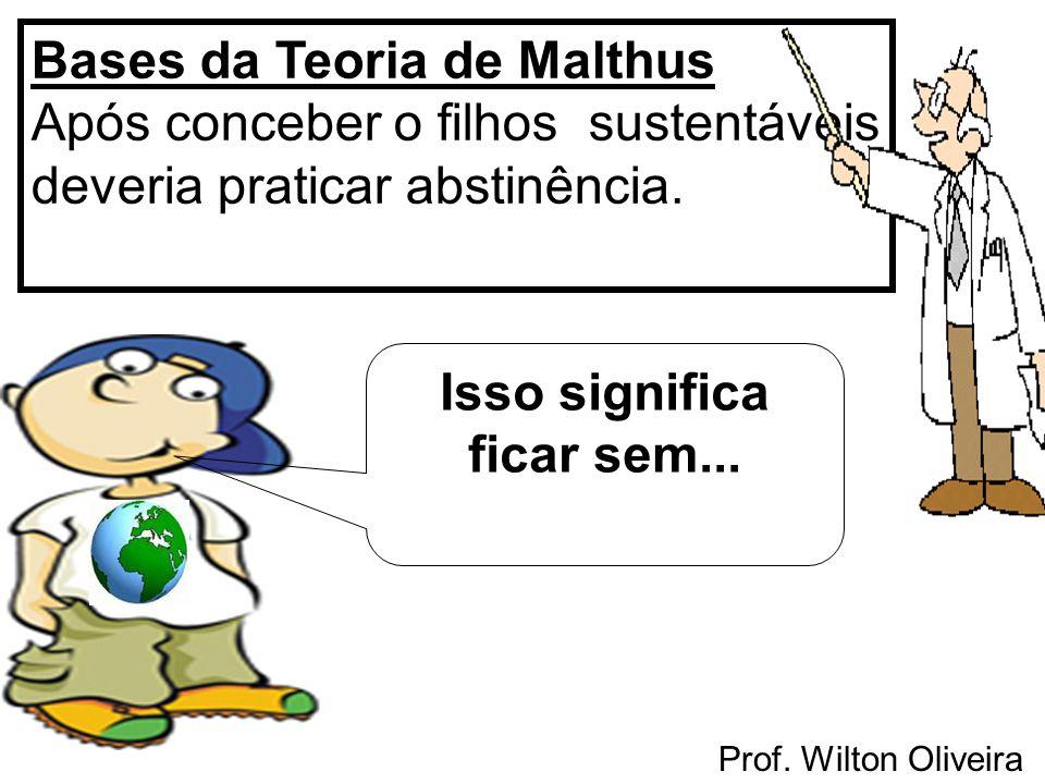 Prof. Wilton Oliveira Bases da Teoria de Malthus Após conceber o filhos sustentáveis deveria praticar abstinência. Isso significa ficar sem...