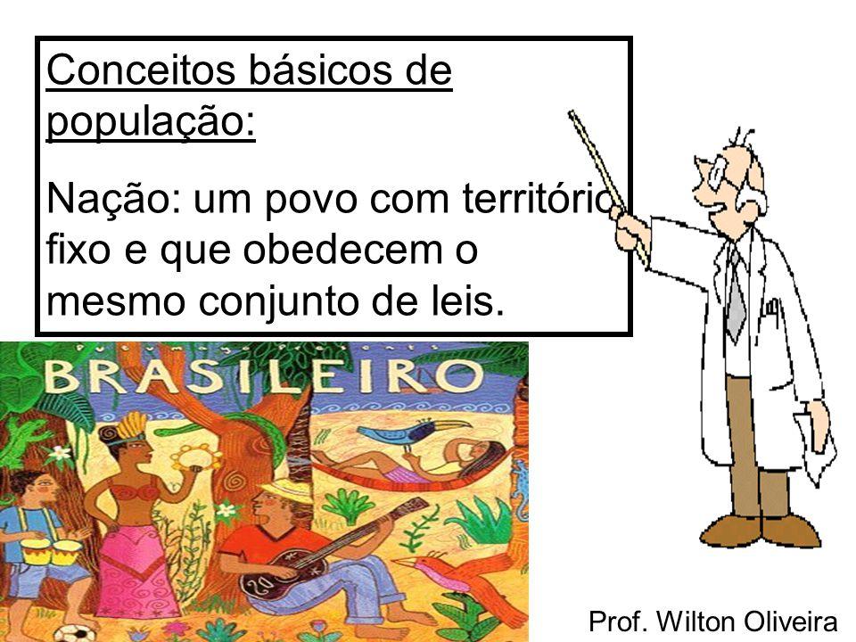 Prof. Wilton Oliveira Conceitos básicos de população: Nação: um povo com território fixo e que obedecem o mesmo conjunto de leis.