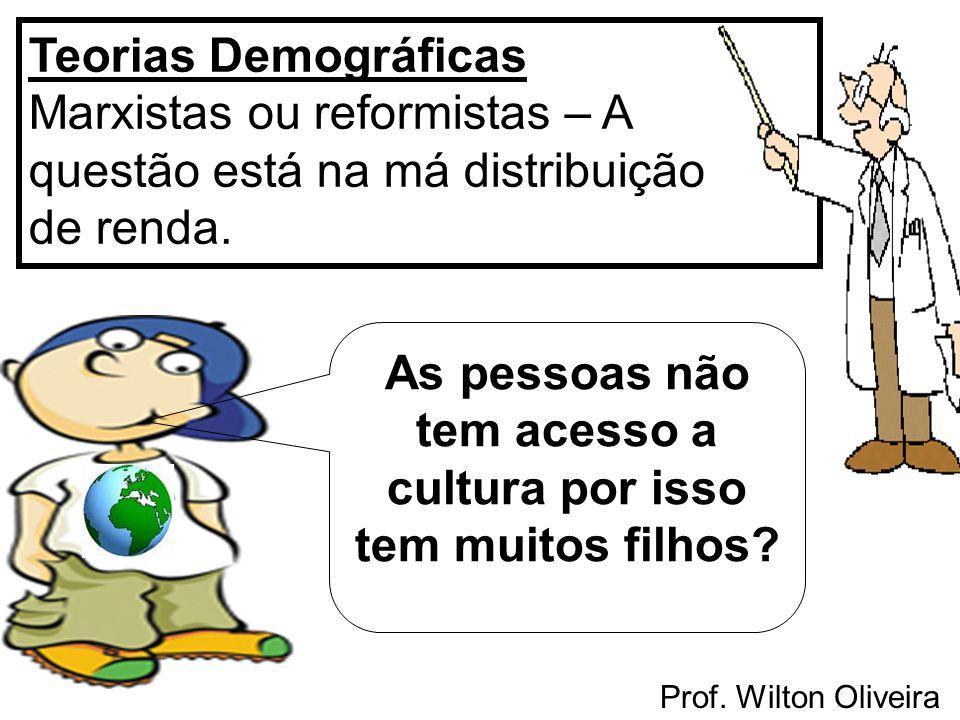 Prof. Wilton Oliveira Teorias Demográficas Marxistas ou reformistas – A questão está na má distribuição de renda. As pessoas não tem acesso a cultura