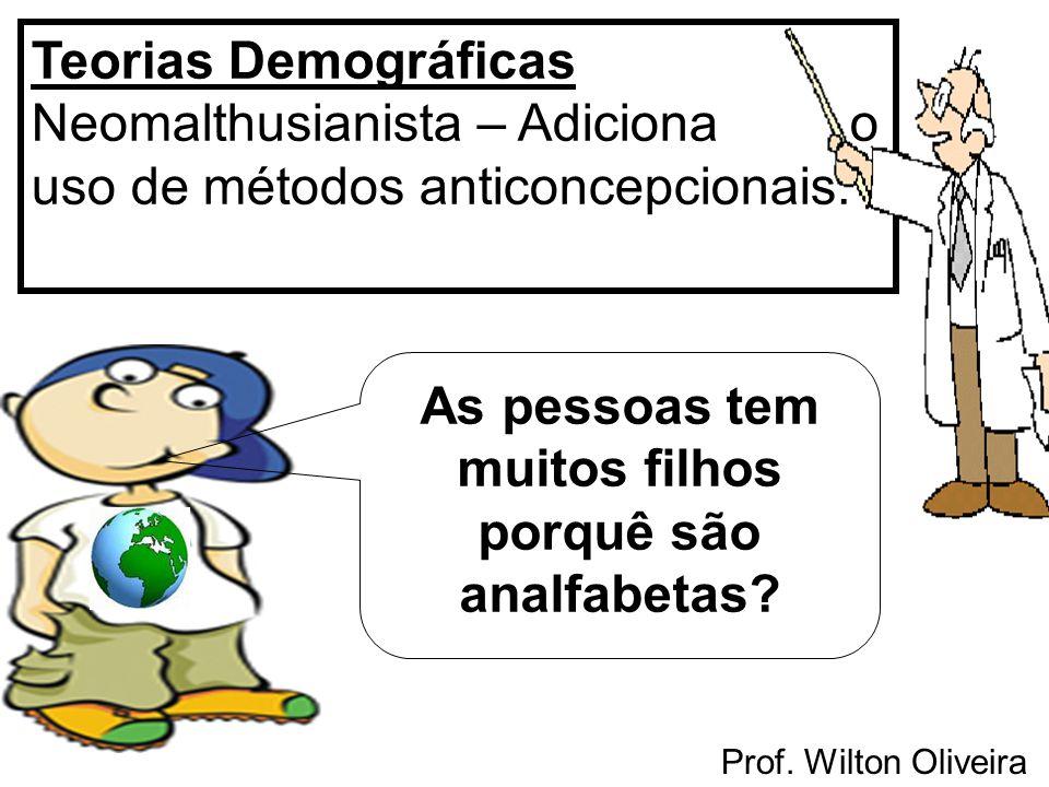 Prof. Wilton Oliveira Teorias Demográficas Neomalthusianista – Adiciona o uso de métodos anticoncepcionais. As pessoas tem muitos filhos porquê são an