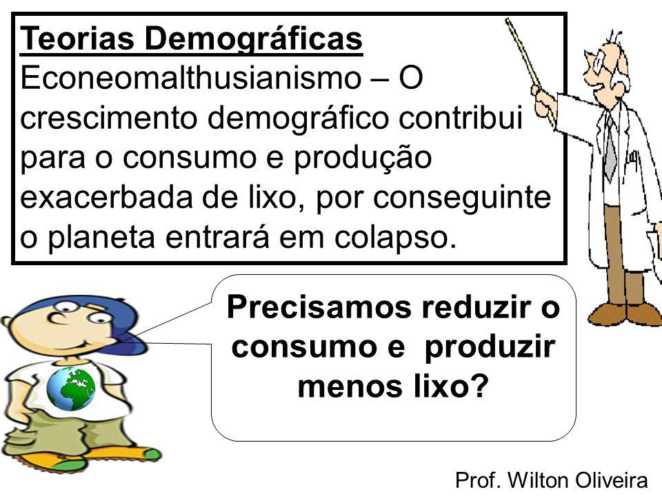 Prof. Wilton Oliveira Teorias Demográficas Econeomalthusianismo – O crescimento demográfico contribui para o consumo e produção exacerbada de lixo, po