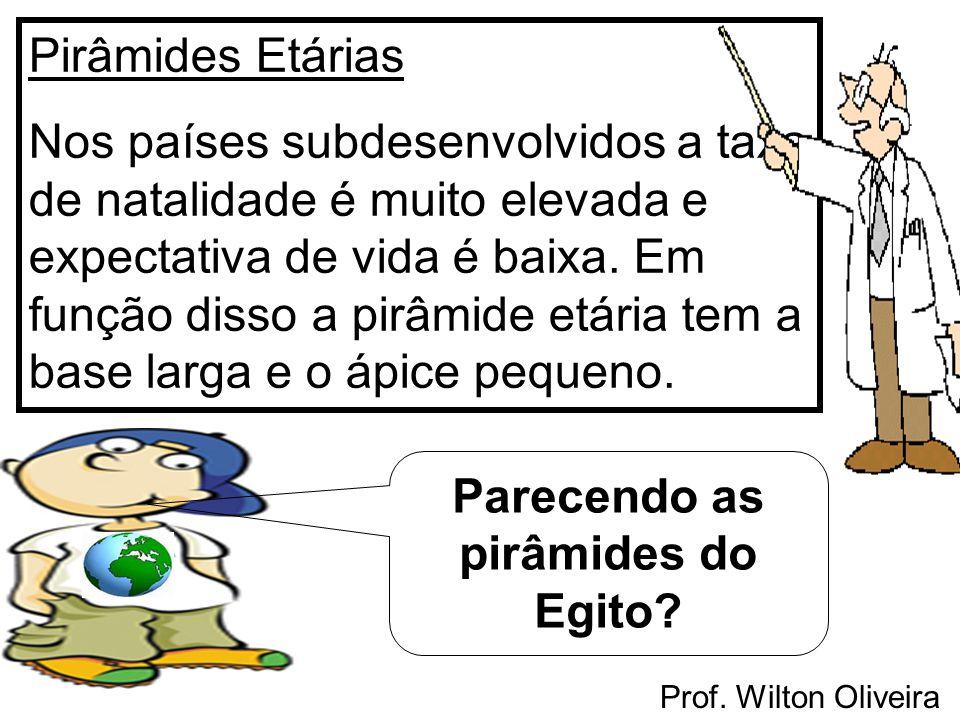 Prof. Wilton Oliveira Pirâmides Etárias Nos países subdesenvolvidos a taxa de natalidade é muito elevada e expectativa de vida é baixa. Em função diss