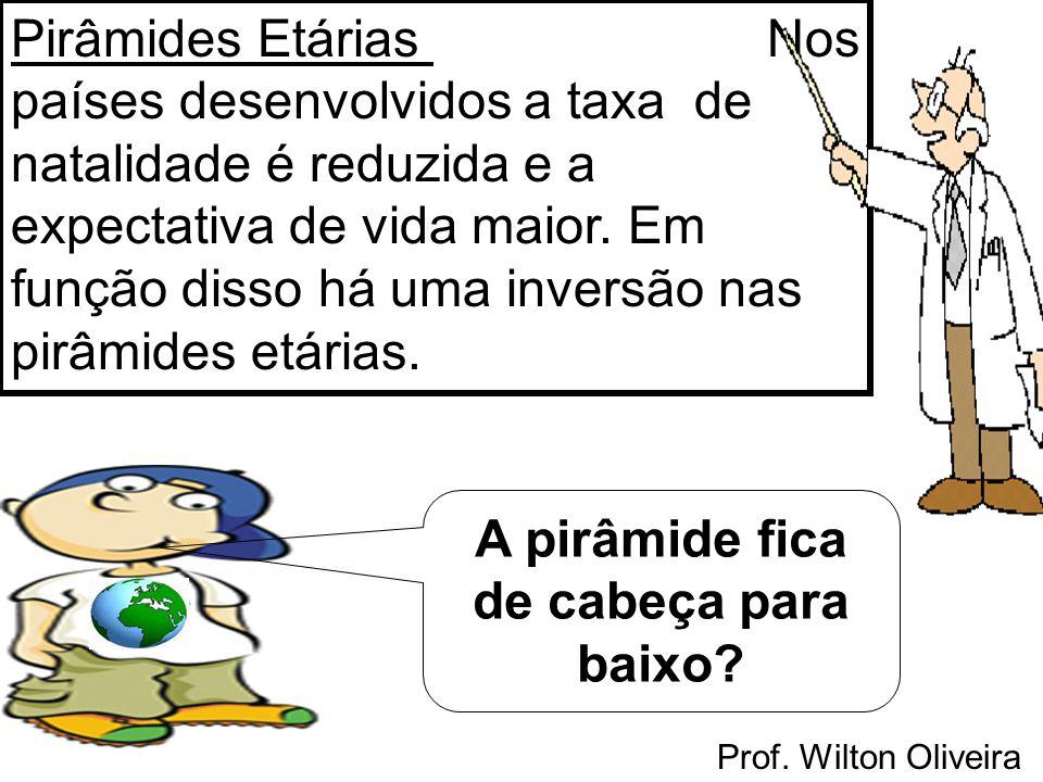 Prof. Wilton Oliveira Pirâmides Etárias Nos países desenvolvidos a taxa de natalidade é reduzida e a expectativa de vida maior. Em função disso há uma