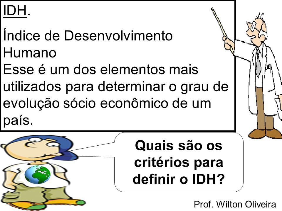Prof. Wilton Oliveira IDH. Índice de Desenvolvimento Humano Esse é um dos elementos mais utilizados para determinar o grau de evolução sócio econômico