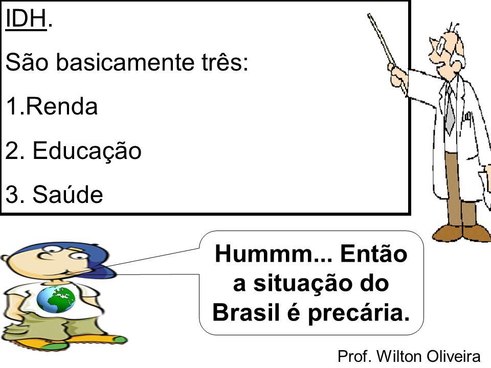Prof. Wilton Oliveira IDH. São basicamente três: 1.Renda 2. Educação 3. Saúde Hummm... Então a situação do Brasil é precária.