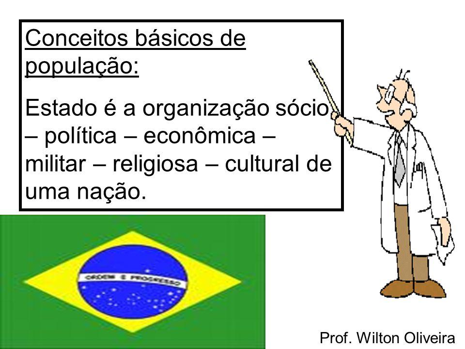 Prof. Wilton Oliveira Conceitos básicos de população: Estado é a organização sócio – política – econômica – militar – religiosa – cultural de uma naçã