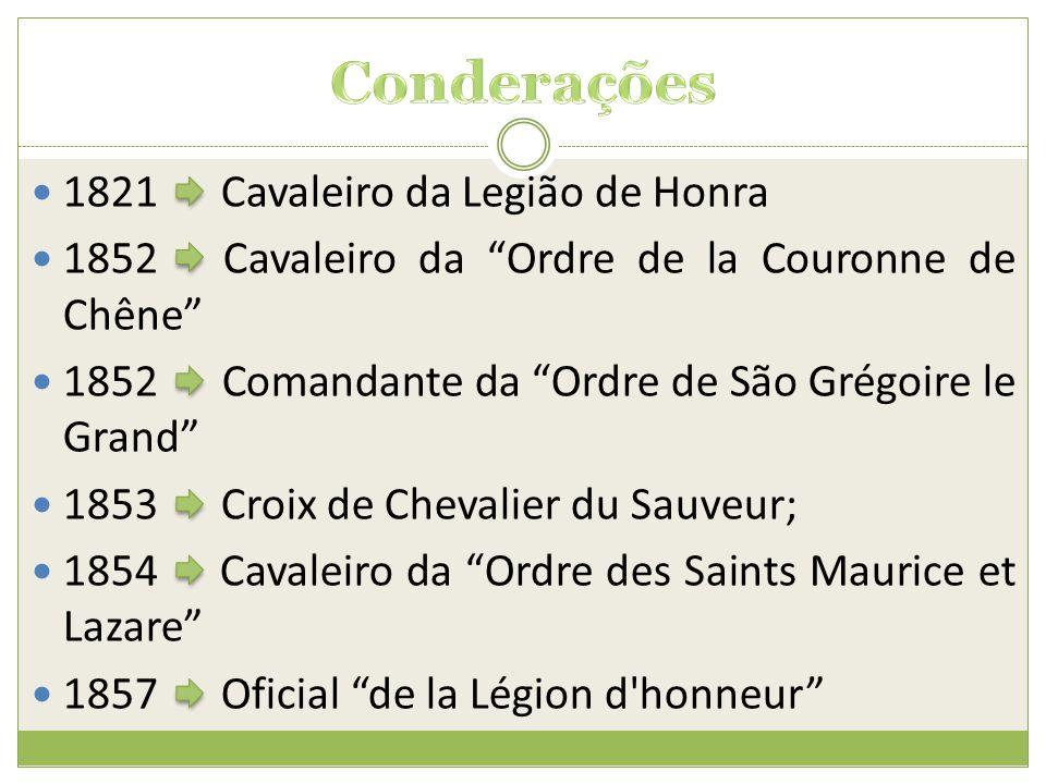 """ 1821 Cavaleiro da Legião de Honra  1852 Cavaleiro da """"Ordre de la Couronne de Chêne""""  1852 Comandante da """"Ordre de São Grégoire le Grand""""  1853 C"""