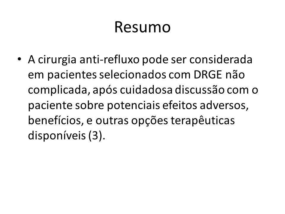 Resumo • A cirurgia anti-refluxo pode ser considerada em pacientes selecionados com DRGE não complicada, após cuidadosa discussão com o paciente sobre
