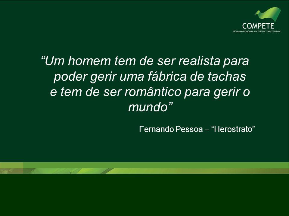 """""""Um homem tem de ser realista para poder gerir uma fábrica de tachas e tem de ser romântico para gerir o mundo"""" Fernando Pessoa – """"Herostrato"""""""