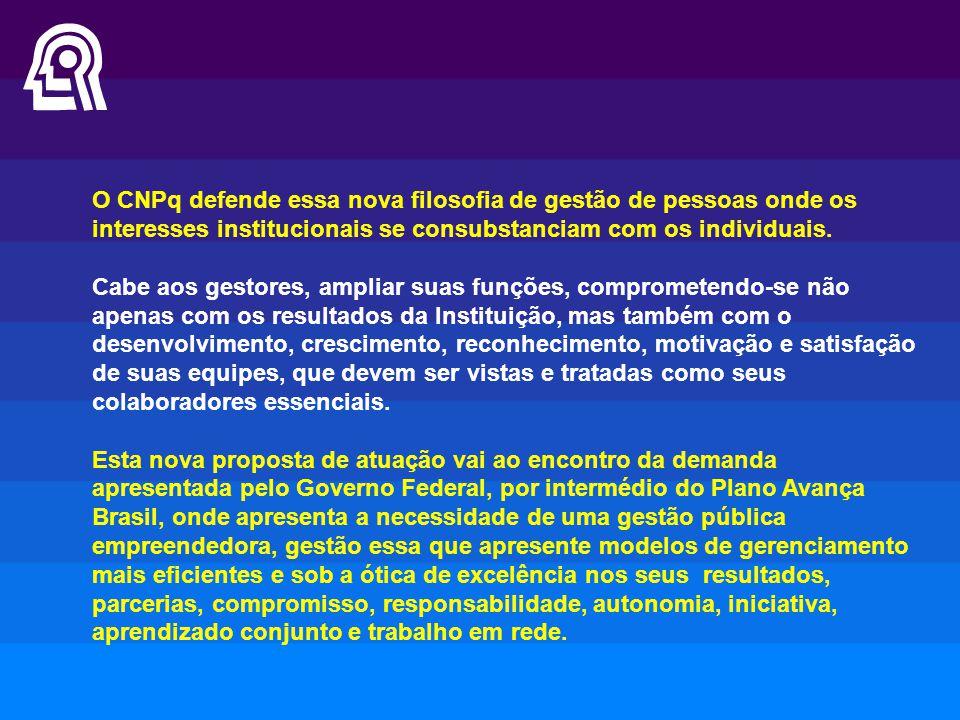 O CNPq defende essa nova filosofia de gestão de pessoas onde os interesses institucionais se consubstanciam com os individuais. Cabe aos gestores, amp